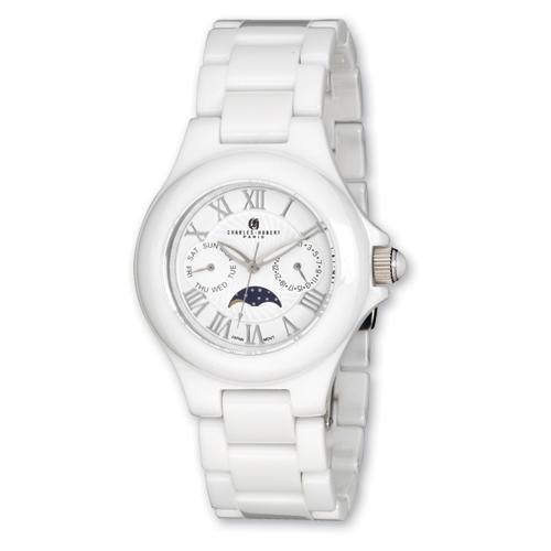 Mens Charles Hubert White Ceramic Multifunction Watch. Price: $291.48