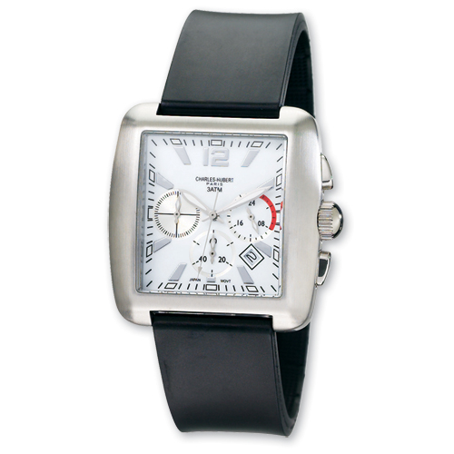 Mens Charles Hubert Rubber Band White 39x35mm Dial Chrono Watch ring. Price: $201.80