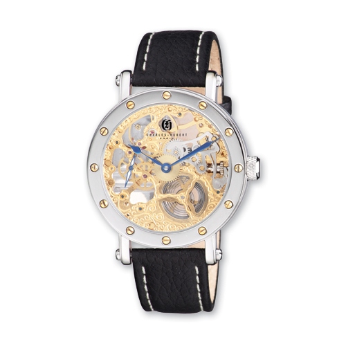 Mens Charles Hubert Leather Band Gold-tone Skeleton Dial Watch ring. Price: $282.52