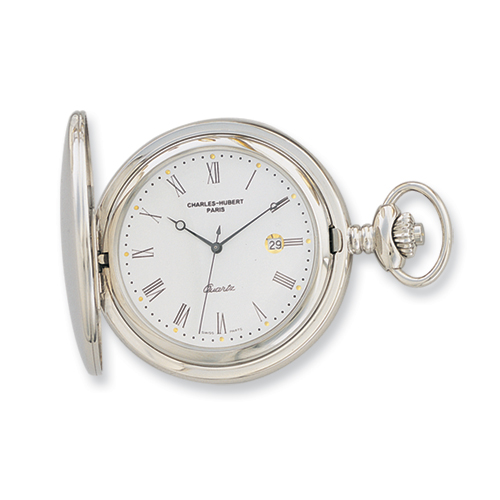 Charles Hubert Stainless Steel White Dial with Date Pocket Watch. Price: $184.97