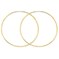 14K Gold 1.25x57mm Diamond Cut Endless Hoop Earring. Price: $136.02
