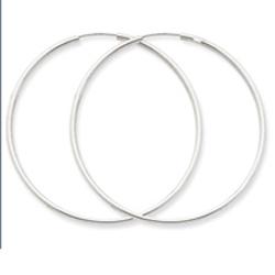 Jewelry Adviser Hoop Earrings 14K White Gold 1.5x47mm Polished Endless Hoop Earrings