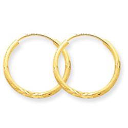 14K Gold 1.5x17mm Satin Diamond-Cut Endless Hoop Earrings. Price: $54.94