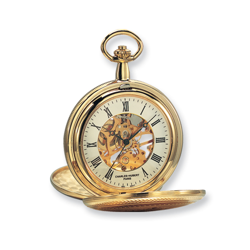 Charles Hubert 14k Gold-plated White Dial with Date Pocket Watch. Price: $140.12
