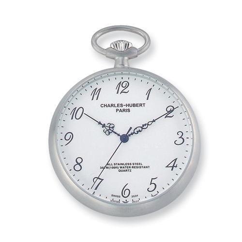 Charles Hubert Solid Stainless Steel White Dial Pocket Full Face Watch. Price: $151.35