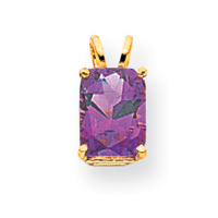 14k 8x6mm Emerald Cut Amethyst pendant. Price: $77.20