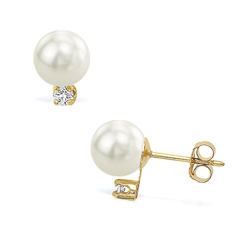"18K Yellow Gold 7mm ""CROWN"" Quality Pearl & Diamond Earrings. Price: $1020.00"