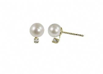 "14K Yellow Gold 8-8.5mm""AA""Freshwater Pearl & .10ctw Diamond Earrings. Price: $430.00"