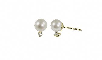 """14K Yellow Gold 7-7.5mm""""AA""""Freshwater Pearl & .10ctw Diamond Earring. Price: $390.00"""