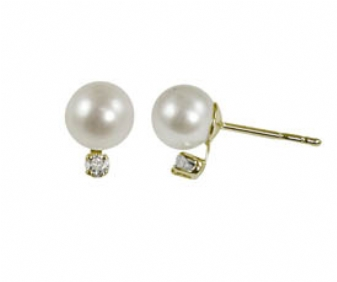 "14K Yellow Gold 6-6.5mm""AA""Freshwater Pearl & .06ctw Diamond Earrings. Price: $252.00"