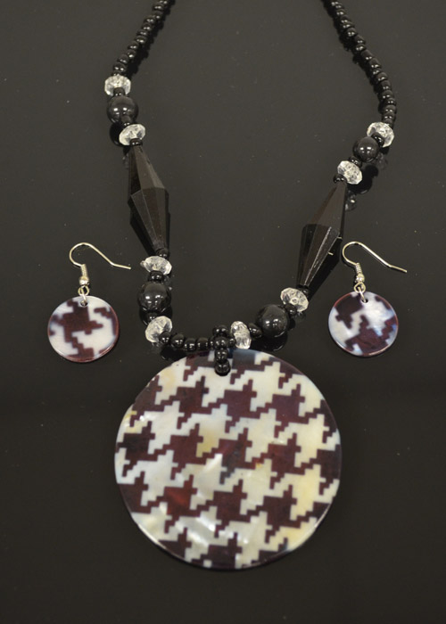 Black and Grey Mother of Pearl Necklace and Earrings Set. Price: $9.95