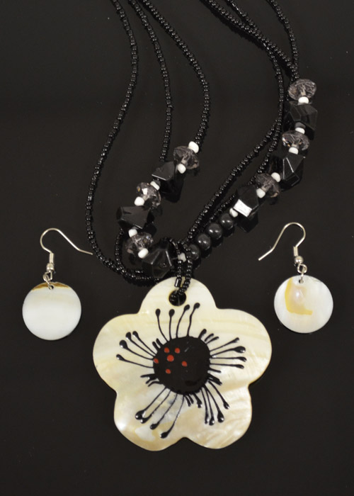 Black and White Mother of Pearl Necklace and Earrings Set. Price: $9.95
