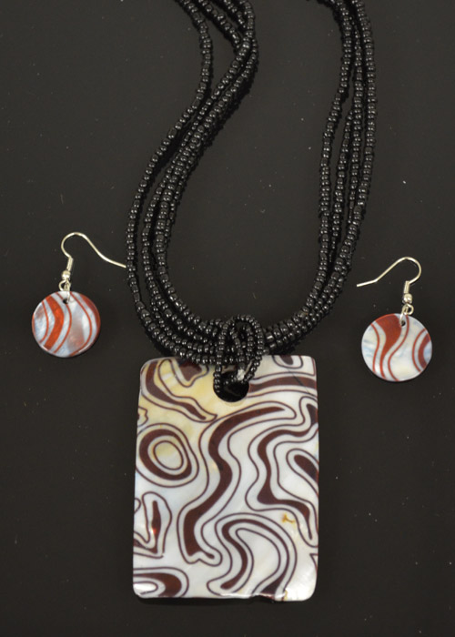 Black,Brown and Cream Mother of Pearl Necklace and Earrings Set. Price: $9.95
