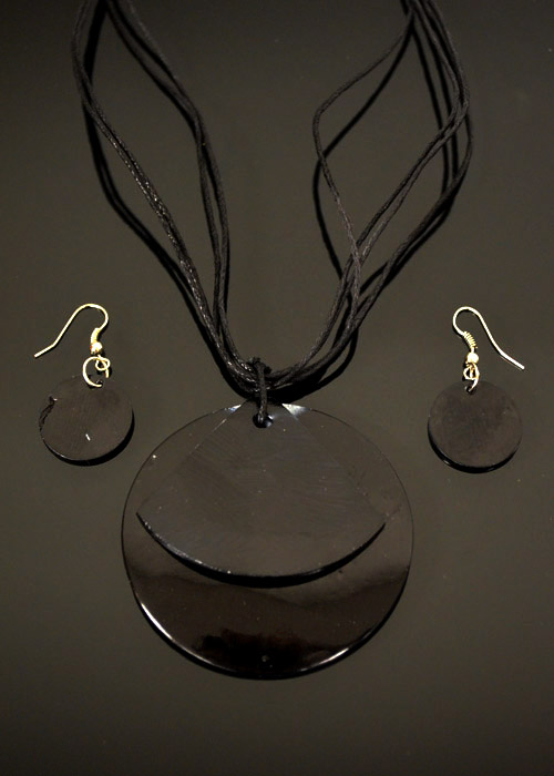 Black Mother of Pearl Necklace and Earrings Set. Price: $9.95