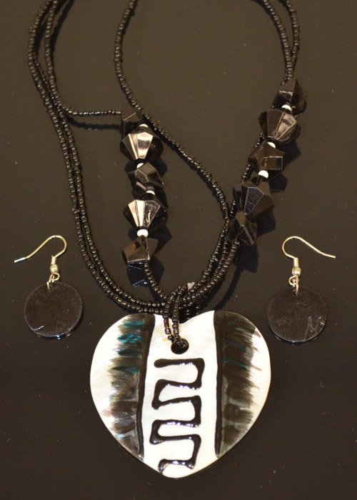 Black and White Heart Shaped Necklace and Earrings Set. Price: $9.95