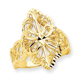 14K Gold Diamond Cut Filigree Ring Size 9. Price: $226.00