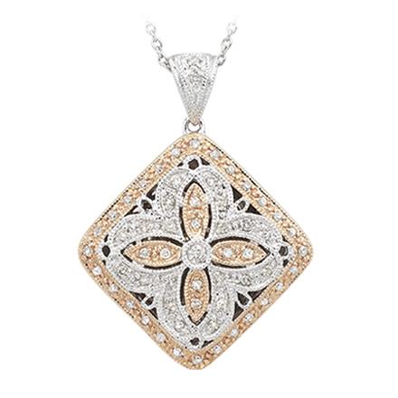 Round Diamond Two Tone Locket Pendant w/Chain. Price: $1332.00