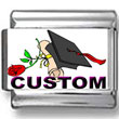 Graduation Cap & Rose Custom Photo Charm