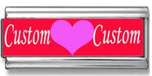 Double Link Custom Heart Names Photo Charm
