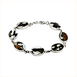 Sterling Silver and Turbo Shell Small Oval Links Bracelet