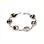 Sterling Silver and Turbo Shell Teardrop Links Bracelet
