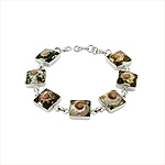 Sterling Silver and Turbo Shell Small Square Links Bracelet