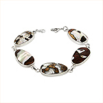 Sterling Silver and Turbo Shell Long Oval Links Bracelet