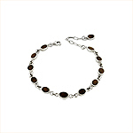 Sterling Silver Small Oval Links Bracelet with Wood Inlay
