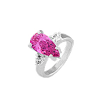 Sterling Silver Ring with Teardrop Pink CZ and Round White CZ