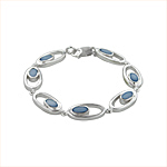 Sterling Silver Oval in Oval Bracelet with Blue Mother of Pearl