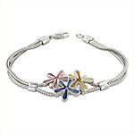 Sterling Silver Three Flowers Bracelet with Yellow-Blue-Pink Mother of Pearl