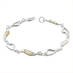 Sterling Silver Hearts and Waves Bracelet with White Mother of Pearl