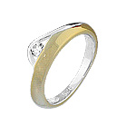 Sterling Silver White and Yellow Loop Ring with White CZ