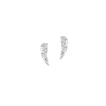 "Sterling Silver ""Fang"" Stud Earings with White Triangular Mother of Pearl Inlays"