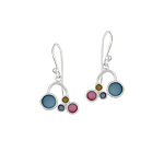 Sterling Silver Connected Circles Dangle Earrings with Multicolor Mother of Pearl