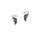 Sterling Silver Wavy Triangle Stud Earrings with Black Mother of Pearl Inlay