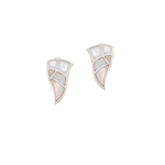 Sterling Silver Wavy Triangle Stud Earrings with White Mother of Pearl Inlay