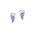 Sterling Silver Wavy Triangle Stud Earrings with Blue Mother of Pearl Inlay