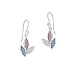 Sterling Silver Three Petals Dangle Earrings with Pink-Blue Mother of Pearl and White CZ