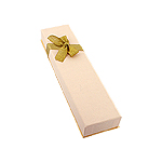 Beige Bracelet Box with Gold Bow