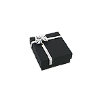 Navy Blue Pendant and Chain Box with Silver Bow