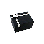 Navy Blue Wide Bangle Box with Silver Bow