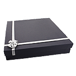 Navy Blue Necklace Box with Silver Bow