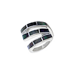 Sterling Silver S-Shaped Ring with Black Mother of Pearl