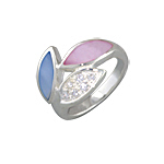 Sterling Silver Three Petals Ring with Pink-Blue Mother of Pearl and White CZ