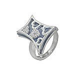 Sterling Silver and Blue Mother of Pearl Filigree Hearts Ring with White CZ