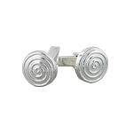 Sterling Silver Spiral Round Cuff Link