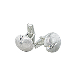Sterling Silver Button Style Round Cuff Link with White CZ