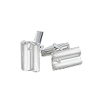 Sterling Silver Rounded Split Rectangle Cuff Link with White CZ