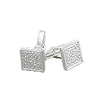 Sterling Silver Hammered Square Cuff Link